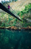 Wooden Footbridge Over River