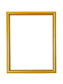 Wooden frame golden on white background. Gilded frame for paintings, mirrors or photos