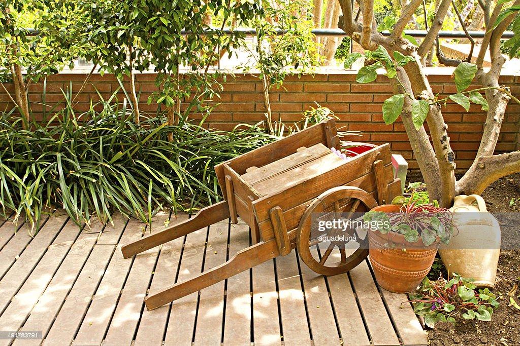 Wooden Garden Cart : Stock Photo