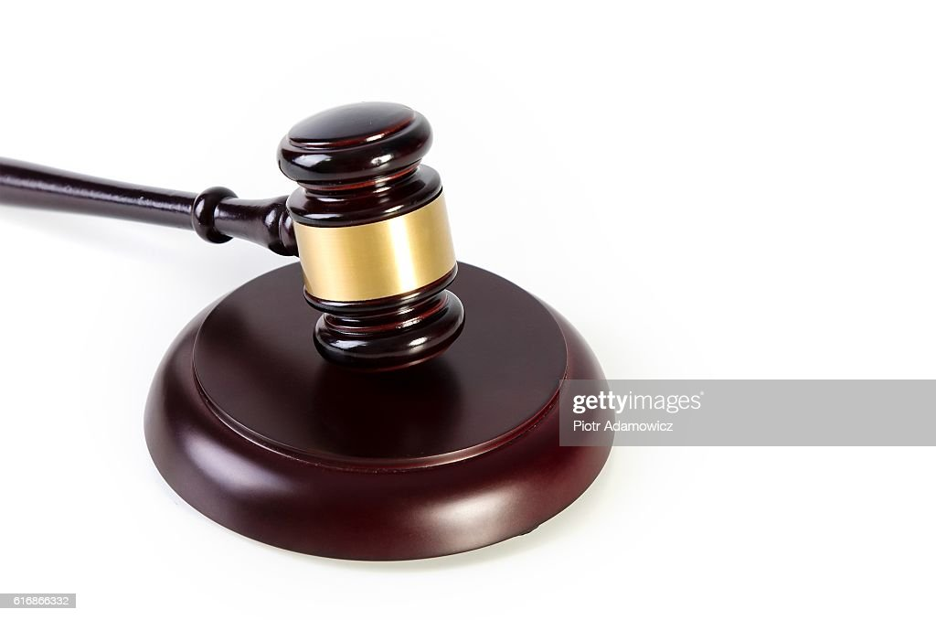Wooden gavel on white background : Stock Photo