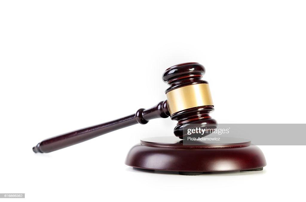 Wooden gavel on white background : Stock Photo