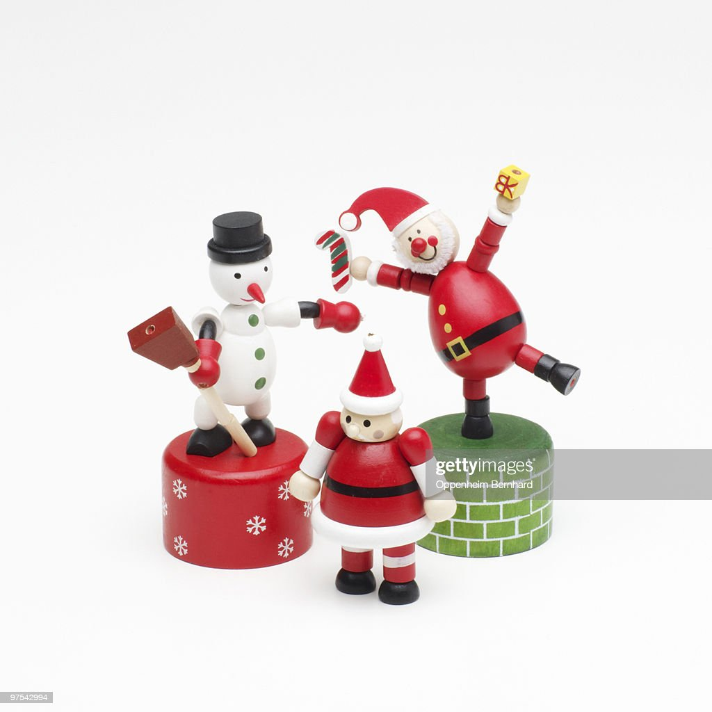 Wooden hand painted childrens christmas toys stock photo
