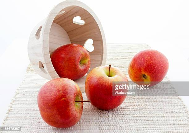 Wooden Heart Basket with Red Kiku Apples