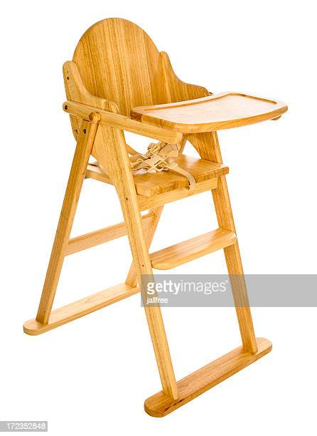 Wooden high chair for babies on white background