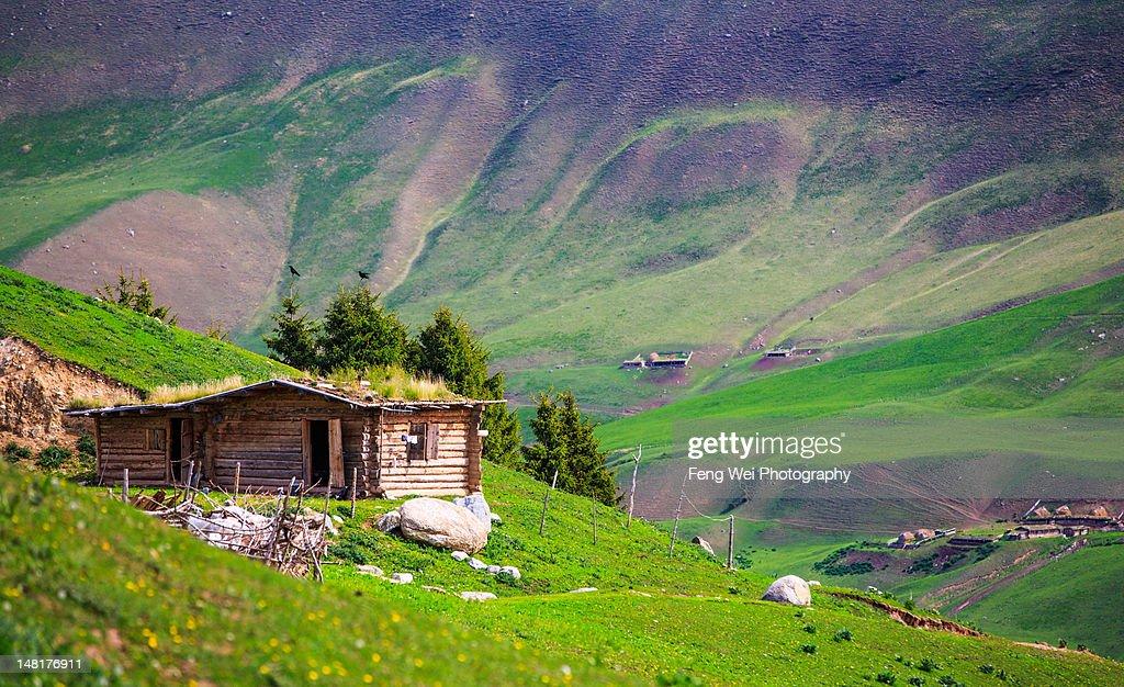 Wooden house of Kazakh Tribe, Xinjiang China : Stock Photo