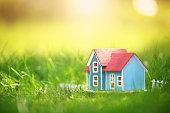 wooden house model on the grass in garden