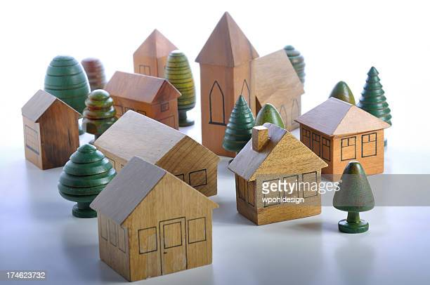 wooden houses and church