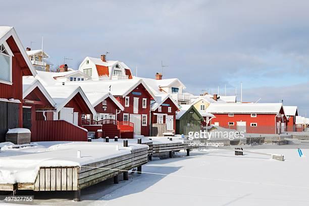 Wooden houses at winter, Fiskebackskil, Bohuslan, Sweden