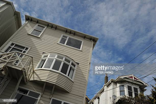 Wooden houses in the suburb of Mount Victoria in Wellington during the Rugby World Cup on September 15 2011 AFP PHOTO/Peter PARKS