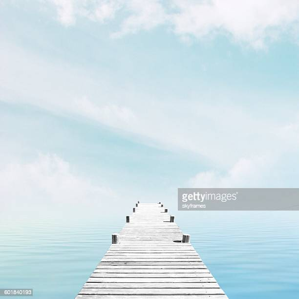 Wooden jetty by sea