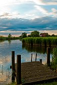 Wooden jetty in the Fens, England