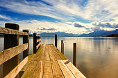 wooden jetty (250) lake chiemsee, bavaria, germany, europe