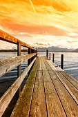 wooden jetty (253) lake chiemsee, bavaria, germany, europe