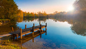 Still waters reflect the wooden piers Lake at Sunset