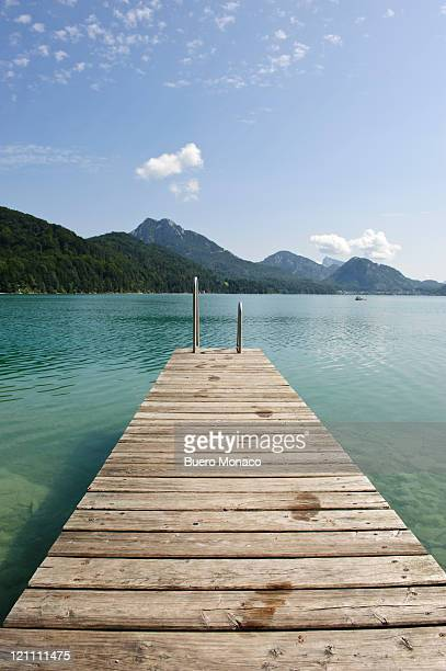 wooden jetty out to lake fuschl