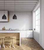 Kitchen interior with brick walls, wooden furniture and parquet floor. Concept of healthy food. 3d rendering. Mock up