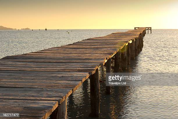 Wooden landing jetty, Mallorca, Spain