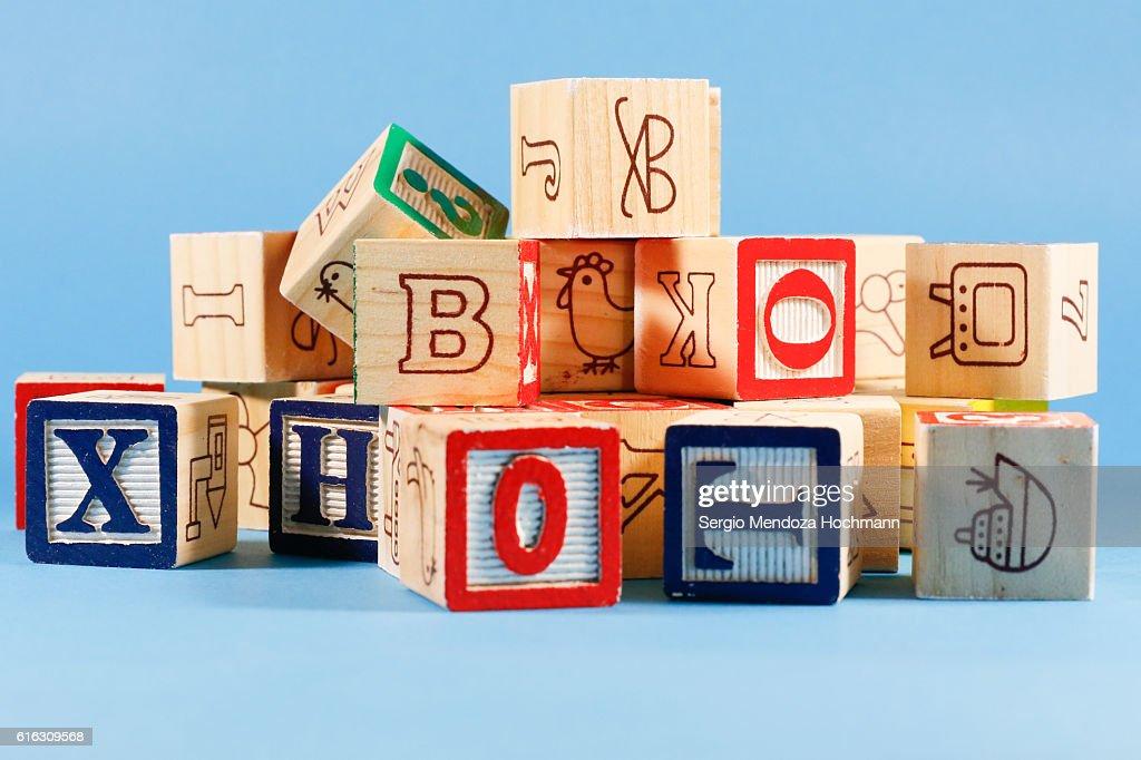Wooden letter blocks : Stock Photo