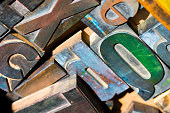 Colored wooden letterpress type characters, typography. Close-up photo