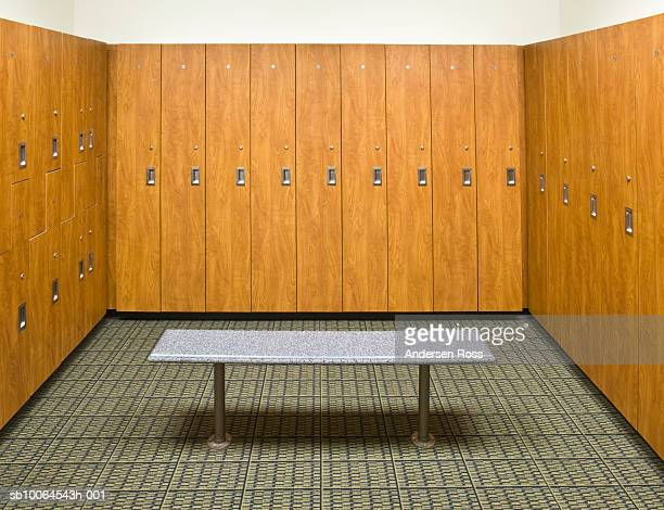 Wooden lockers in empty locker room