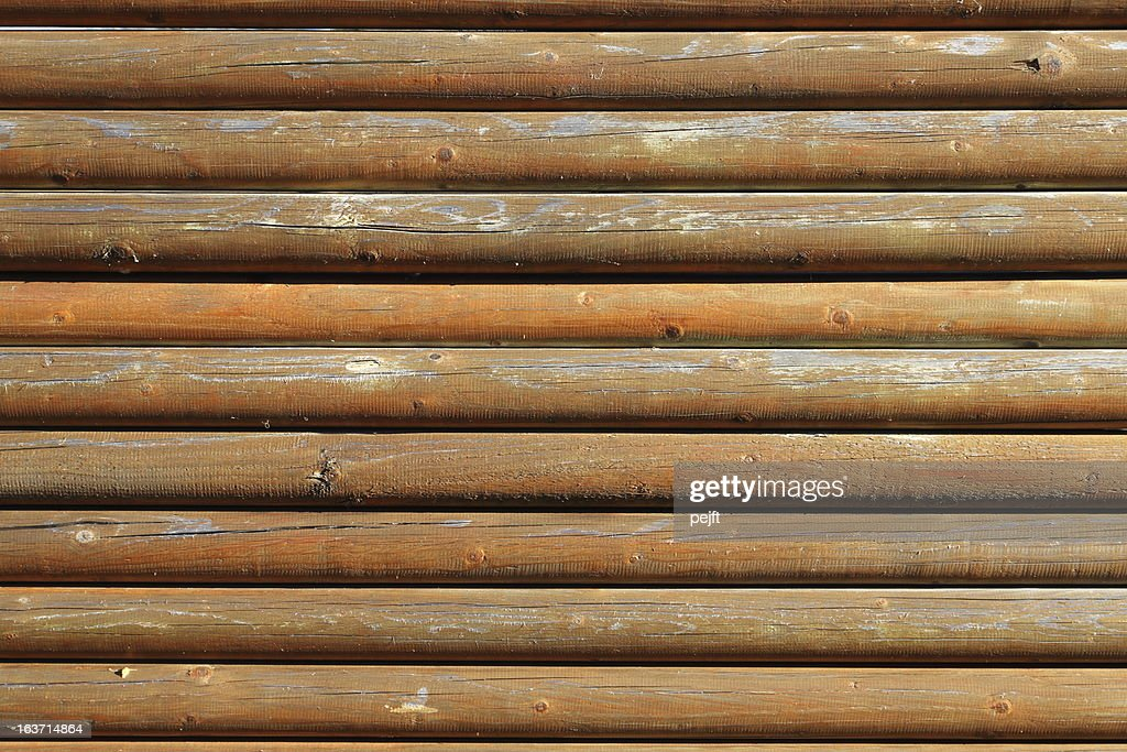 wooden logs fence : Stock Photo