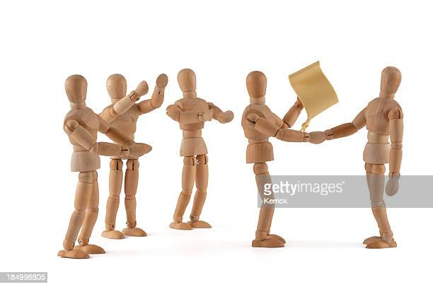 Wooden Mannequin congratulate with certificate