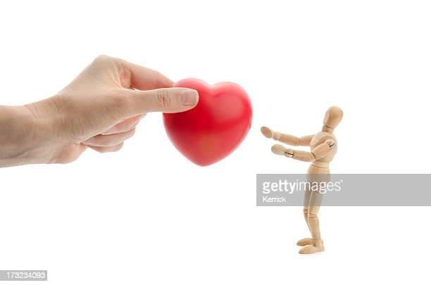 Wooden mannequin gets a heart