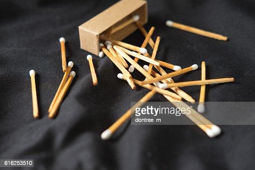 Wooden matches on dark background : Foto de stock
