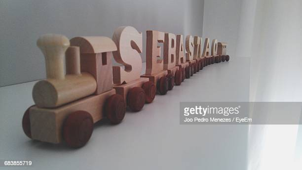 Wooden Miniature Train With On Table