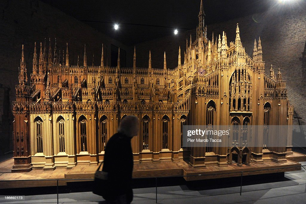 A wooden model of Duomo di Milano doors are displayed during the opening exhibition of new Grande Museo del Duomo on November 4, 2013 in Milan, Italy.The opening of the new Grande Museo of Duomo in Palazzo Reale: 27 showrooms, 2000 square meters, 13 thematic areas where the most important treasures of Fabbrica del Duomo are preserved.