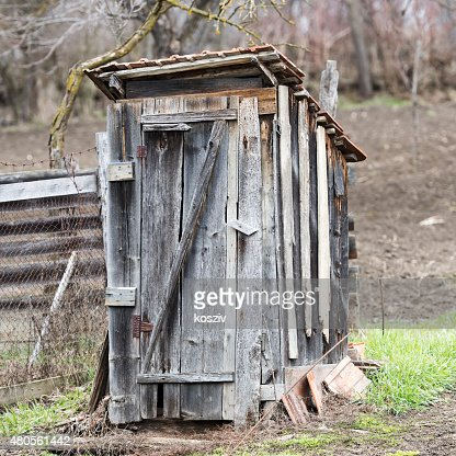 Wooden outdoors toilet : Stock Photo