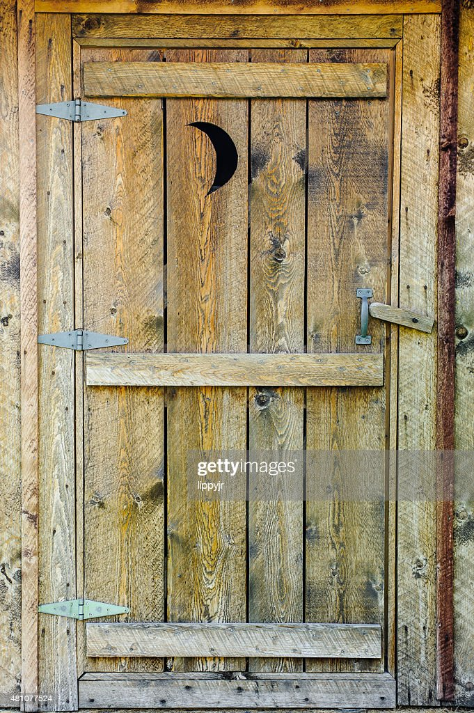 Wooden Outhouse Door Made Of Rough Cut Lumber : Stock Photo & Wooden Outhouse Doors \u0026 Outhouse Door Wooden Toilet Outdoors Restroom Pezcame.Com