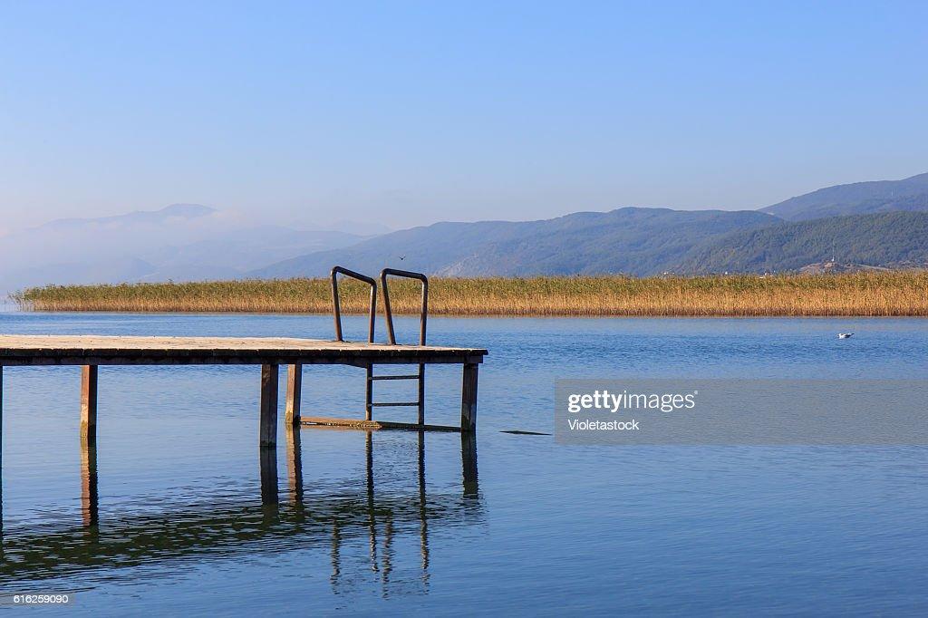Wooden pier on the Ohrid lake, FYRM (Macedonia) : Stock Photo