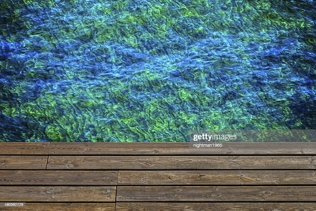 Wooden pier with water : Stock Photo