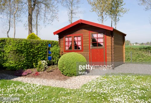 Wooden pine cottage with curtains in the domestic garden