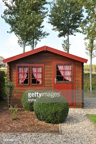Wooden pine shed with curtains in the back yard