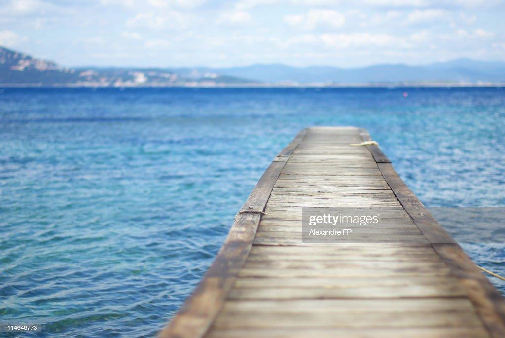 Wooden Pontoon at Mediterranean Sea