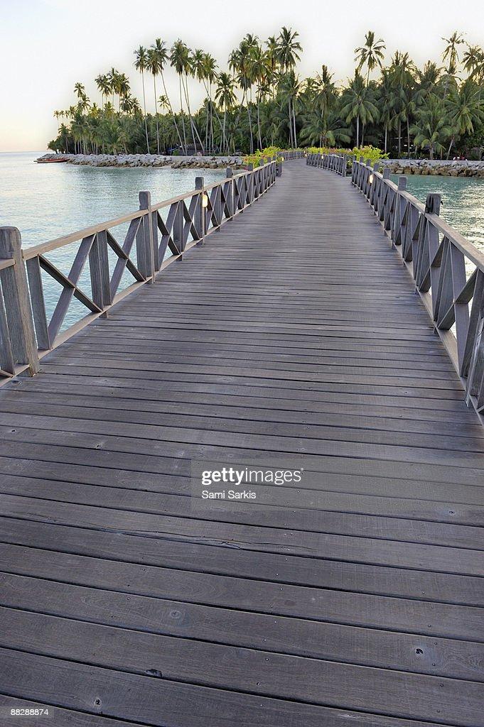 Wooden pontoon leading to island