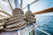 Wooden pulley on an old yacht.