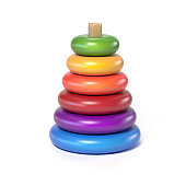 wooden pyramid children's toy made of colorful rings on a white background 3d rendering