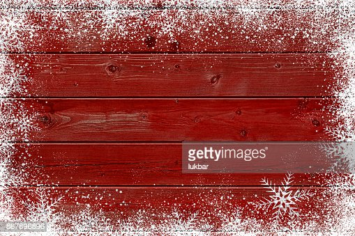 Wooden red Christmas background with snowflake : Stock Photo