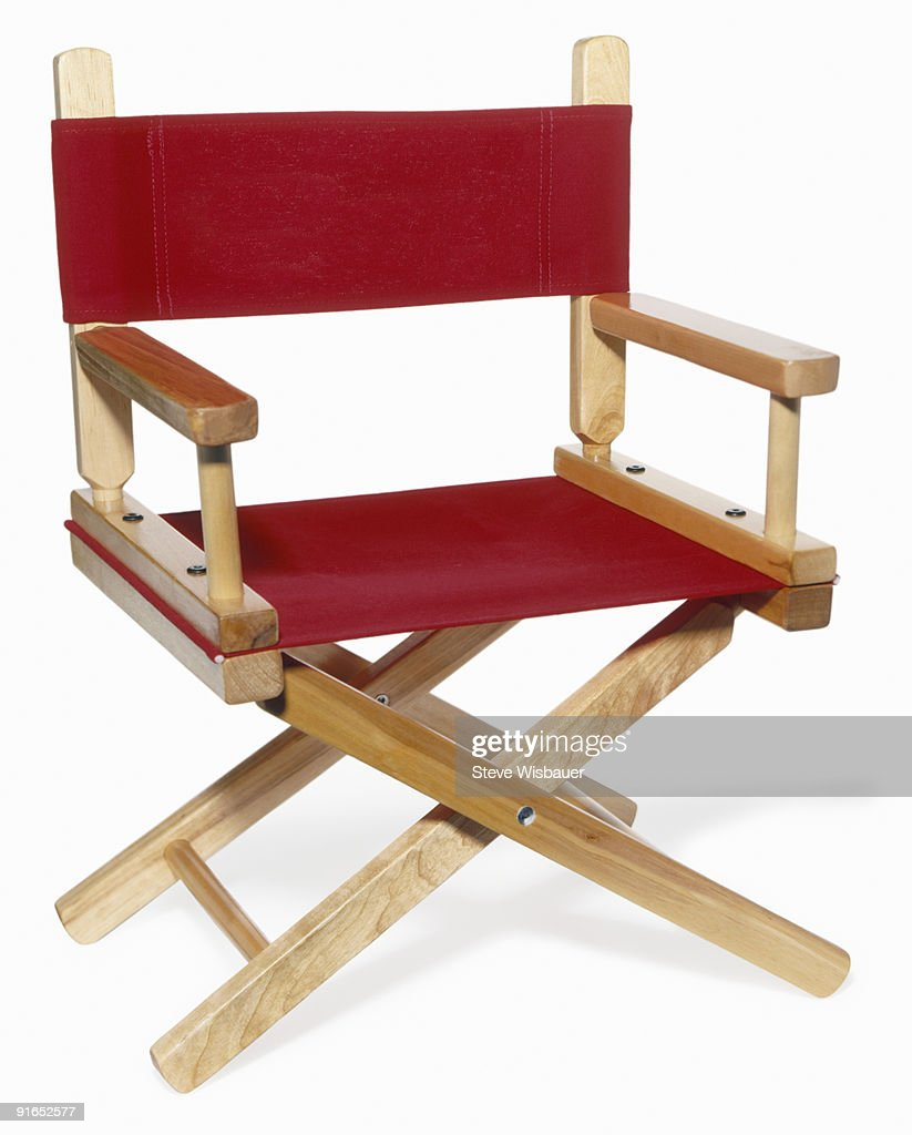 Wooden red director's chair shot on angle