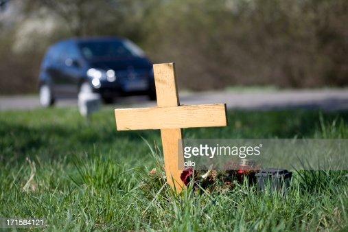 Wooden roadside memorial