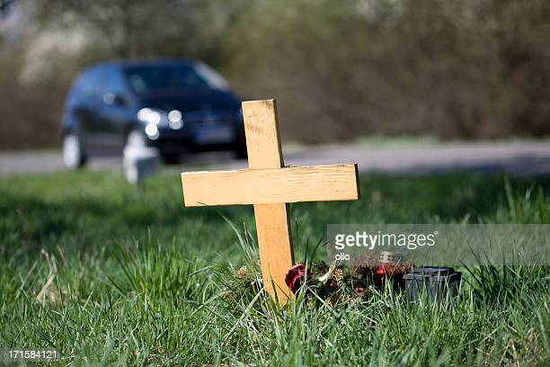 Wooden roadside memorial