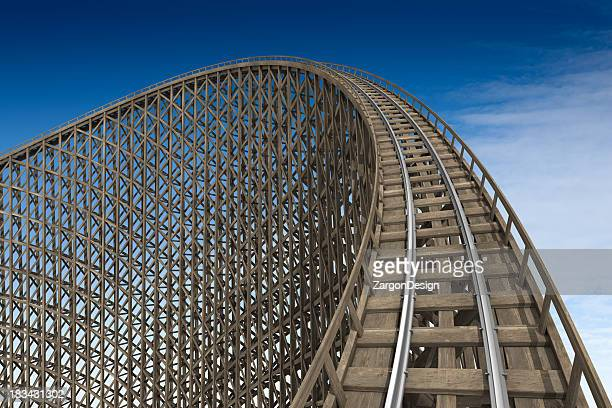 Wooden roller coaster track at park
