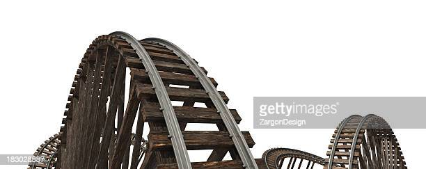 Wooden roller coaster tracks on a white background