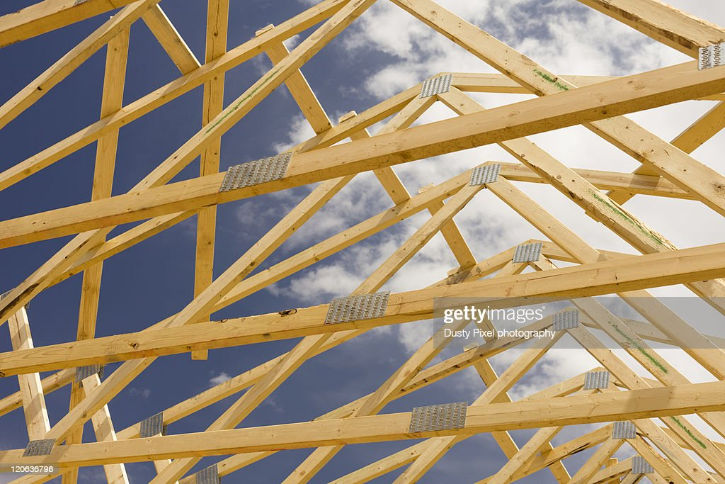 Wooden Roof Trusses : Stock Photo