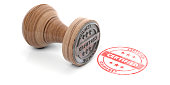 CERTIFIED stamp. Wooden round rubber stamper and stamp with text certified isolated on white background. 3d illustration