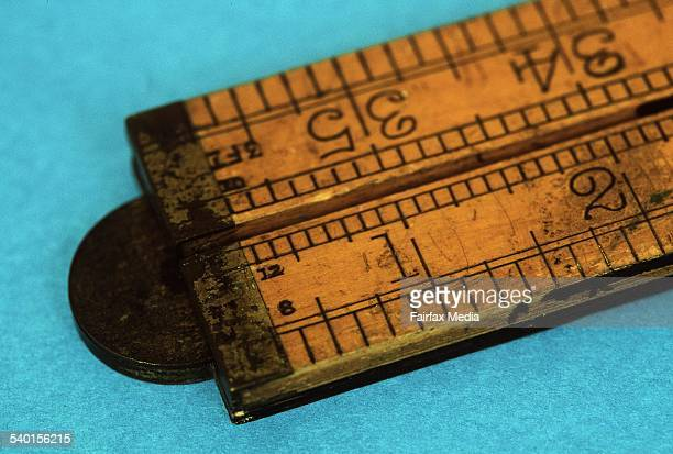A wooden ruler displays inches and increments thereof 12 July 2002 AFR Picture by GABRIELE CHAROTTE