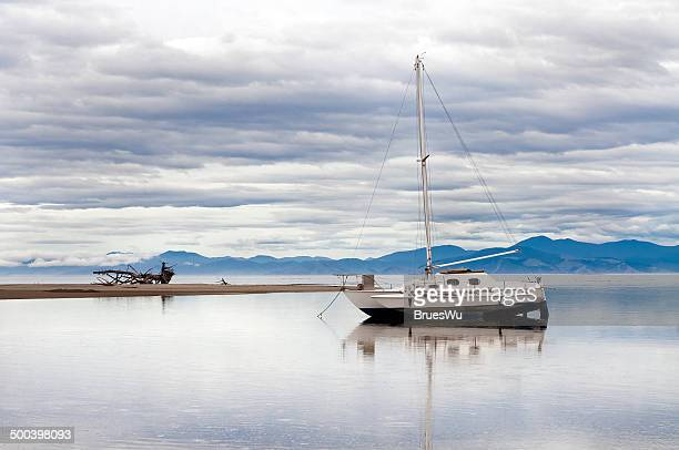 Wooden sailboat and driftwood in Abel Tasman
